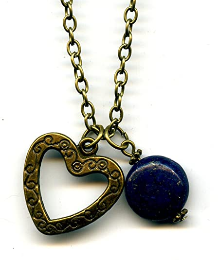 Heart pendant with blue Lapis Lazuli for Mother's Day