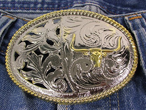 Bull Long Horn Texas Cowboy Western Style Gold and Silver Toned Belt Buckle.