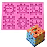 Fewo 3D Emoji Puzzle Piece Blocks Silicone Mold for Fondant Chocolate Candy Gum Paste Polymer Clay Resin Kitchen Baking Sugar Craft Cake Cupcake Decorating Tools (Color: Pink)