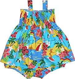 RJC Baby Girls Hawaiian Vacation Activities Elastic Tube Top 2pc Set Blue 3T