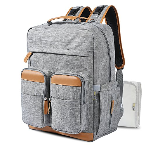 Large Diaper Bag Backpack - Multi-Function Nappy Bags for Mom and Dad, Travel Backpack with Insulated Pockets, Gray