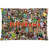 Futurama Character Art Pillow case Two Sides Pattern Printed Custom Queen Size 20*30 Zippered PillowCase