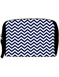 Snoogg White And Blue Strips Designer Travel Buddy Toiletry Bag / Bag Organizer / Vanity Pouch