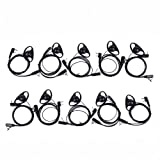 Caroo D Shape Earpiece Headset with Mic PTT for Kenwood/baofeng/HYT 2 Way Radio Walkie Talkie 2pin 10 Pack