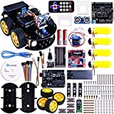 Elego UNO Project Smart Robot Car Kit with Four-wheel Drives  UNO R3  Link Tracking Module  Ultrasonic Sensor  Bluetooth module  Remote  ect. Newest Intelligent and Educational Toy Car for Kids