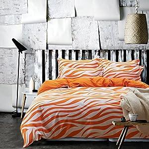 Zebra print orange bedding duvet cover set kids bedding teen bedding dorm bedding - Teen cheetah bedding ...