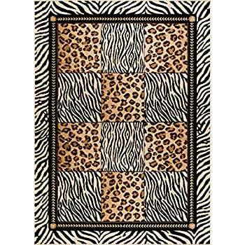 Universal Rugs Macie Transitional Animal Multi-Color Rectangle Area Rug, 5 x 7
