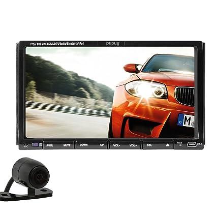 Pupug Bluetooth 7-pouces Lecteur DVD de voiture EN dšŠminšŠraliser Headunit FM RDS AM RšŠcepteur radio micro intšŠgršŠ mains-libres de ršŠponse aux appels tactile Video CD