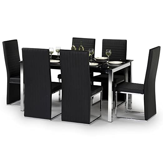 Julian Bowen Tempo Glass 6 Seater Kitchen Dining Table Set, Glass & Chrome