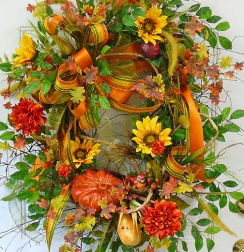 Make Fall Outdoor Wreath For Your Door With Pumpkin Patch