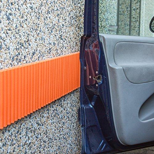 Mondaplen® Wall Bumper: Paracolpi Garage, Strisce Adesive Ammortizzanti per le Pareti del Box Auto (set da 2 strisce) Ciascuna 1,4m x 17 cm. Colore Arancione.