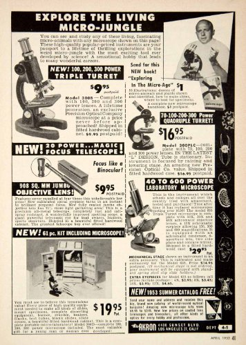 1953 Ad Microscope 4400 Sunset Bvld Los Angeles Lens Kit Science Akron Telescope - Original Print Ad