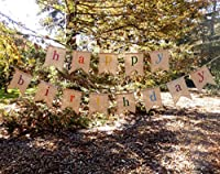 Rustic Burlap Happy Birthday Banner - Premium Quality Birthday Party Decortions by The Sterling James Company by Sterling James Company