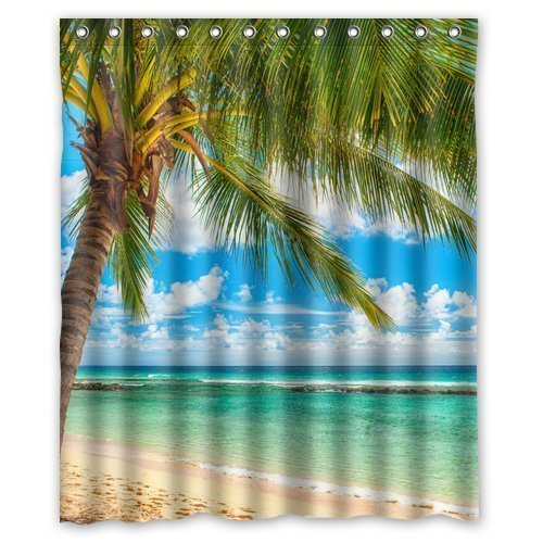 Summer Beach Blue Sea Palm Tree Waterproof Polyester Fabric Bathroom Shower Curtain with 12 Hooks 60