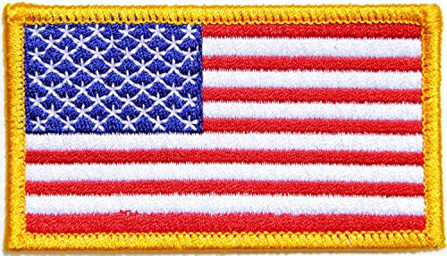 Gold Border UNITED STATES US USA American Flag Team Military Army Biker Jacket T shirt Uniform Patch Sew Iron on Embroidered Badge Sign Costume