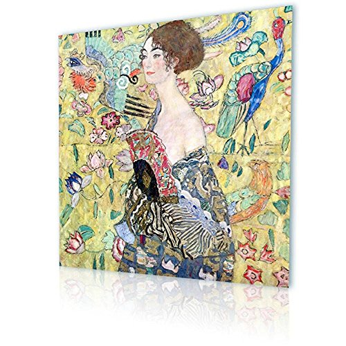 "Alonline Art - Lady With A Fan Gustav Klimt PRINT On CANVAS (100% Cotton, UNFRAMED) Cyber Monday 16""x16"" - 41x41cm Paintings Canvas For Living Room Artwork Oil Painting Printed On Canvas Wall Decor"