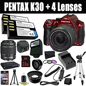 Pentax K-30 Weather-Sealed 16 MP CMOS Digital SLR (Red) with Pentax DA 50-200mm F/4-5.6 AL Weather Resistant Lens + DA 18-135mm F/3.5-5.6 ED AL (IF) DC Weather Resistant Lens + Two D-LI109 Replacement Li-Ion Batteries + External Rapid Charger + 32GB SDHC Class 10 Memory Card +52mm Wide Angle / Telephoto Lenses + 52mm 3 Piece Filter Kit + Mini HDMI Cable + Carrying Case + Full Size Tripod + External Flash + Multi Card USB Reader + Memory Card Wallet + Deluxe Starter Kit DavisMax Bundle