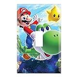 Single Toggle Wall Switch Cover Plate Decor Wallplate - Super Mario Galaxy Yoshi (Color: Multicolored, Tamaño: Midway)