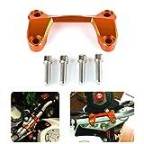 TESWNE For KTM DUKE 125 DUKE 200 DUKE 390 Motorcycle Orange CNC Aluminum Handlebar Risers Top Cover Clamp