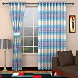 Ajay Furnishings 3 Piece Polyester Stripe Window Curtain - 5 ft, Blue