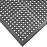 Rubber-Cal Dura-Chef Jr. Non-Slip Rubber Kitchen Mat - 1/2inch x 3ft x 5ft - Black