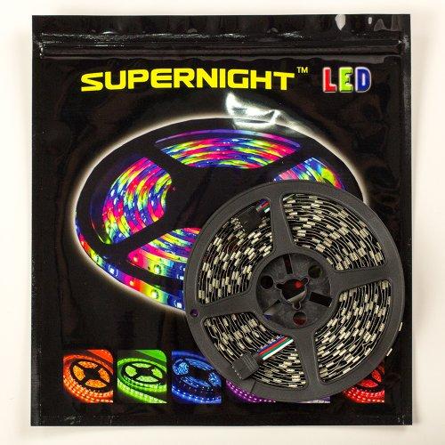 Supernight (Tm) 16.4Ft 5M Rgb Non Waterproof Black Pcb Led Flexible Strip 300Leds Color Changing Rgb Smd5050 Led Lights Strip 12V front-44192
