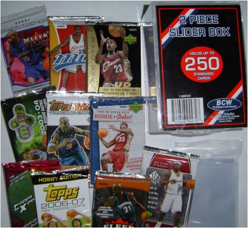 2006 & 2007 Basketball Card Pack Gift Set - Sports Cards Birthday or Christmas Lot - 10 Different Unopened Basketball Packs - Comes with Storage Box and Sleeves - Good Deal - Save Money!