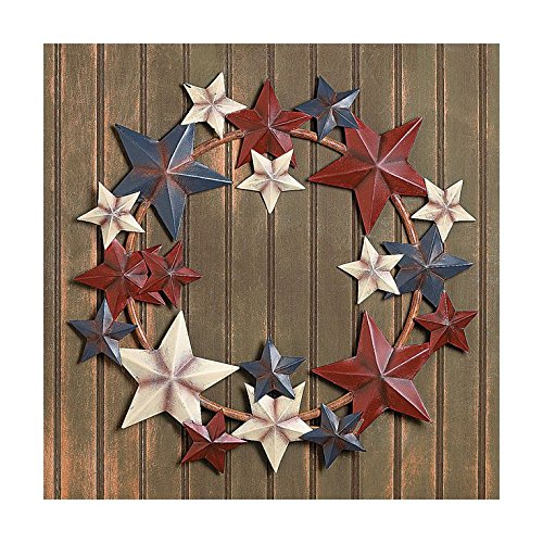 Metal Stars Americana Wreath Patriotic 4th of July Door Hanging Decor