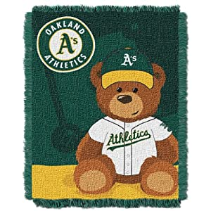 MLB Oakland Athletics Field Woven Jacquard Baby Throw Blanket, 36x46-Inch by Northwest