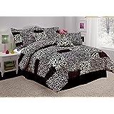 7-Piece Queen Black Safari Comforter Set Micro Suede Faux Fur