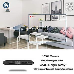 Hidden Camera Spy Mini DV - HD 4K 1080P WiFi Night Vision Motion Detection ,Smart LED Light Digital Display PowerBank Portable Compact Camera for Home (Color: H,10)