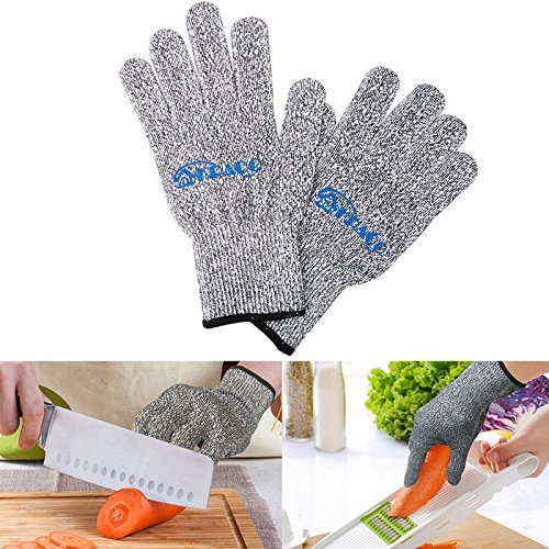 Level 5 Cut Resistance Kitchen Gloves,Kpaco EN388 Certified Ten-pin High Strength Polyethylene Steel Wire Cut Resistant Gloves(PAIR) (Meat Cutter Gloves compare prices)