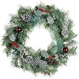 WeRChristmas - Ghirlanda natalizia con pigne e bacche effetto ghiaccio, 45 cm