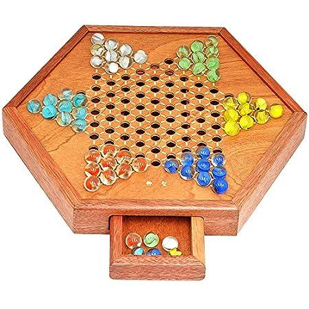 """Dames chinoises, échiquier de bois fin de 12,5 """", marbres classiques, ensemble de jeu familial"""