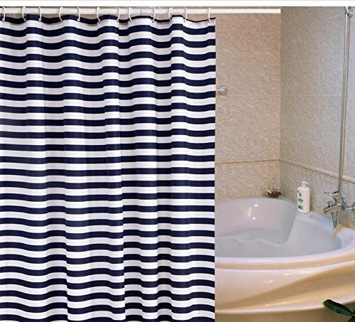 mildew-proof-polyester-fabric-shower-curtain-with-12-hooks-navy-blue-stripe-pattern-180x180cm