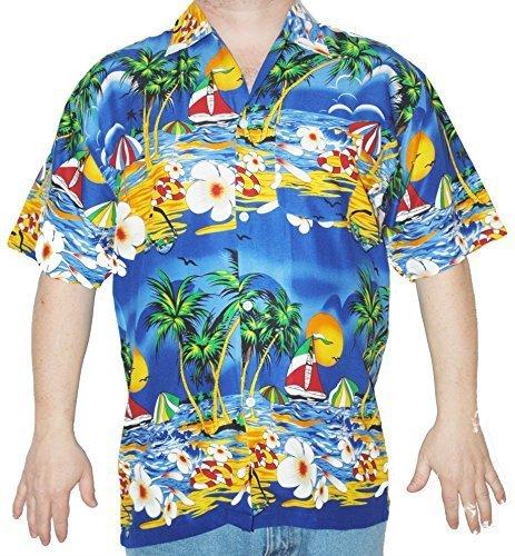 Herren Hawaii Hemd - Motiv: Hawaii Party - Größe: S/M/L - Dunkel Blau, Small