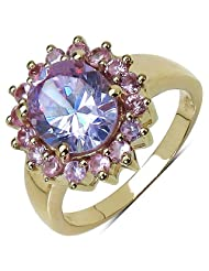 Suraabi 5.02CTW Purple Cubic Zirconia & Pink Cubic Zirconia 14K Yellow Gold Plated Brass Ring For Women