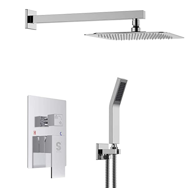 SR SUN RISE SRSH-F5043 Bathroom Luxury Rain Mixer Shower Combo Set Wall Mounted Rainfall Shower Head System Polished Chrome(Contain Shower Faucet Rough-in Valve Body and Trim) (Tamaño: 10 Inch Chrome Shower System)