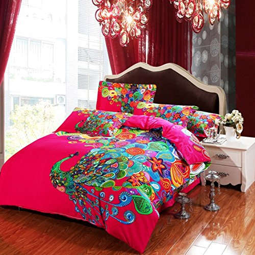 Lt Queen King Size 100% Cotton Thickening Sanded Soft 4-Pieces Colorful Peacock Animal Red Floral Prints Duvet Cover Set/Bed Linens/Bed Sheet Sets/Bedclothes/Bedding Sets/Bed Sets/Bed Covers/5-Pieces Comforter Sets (5, King) front-706723