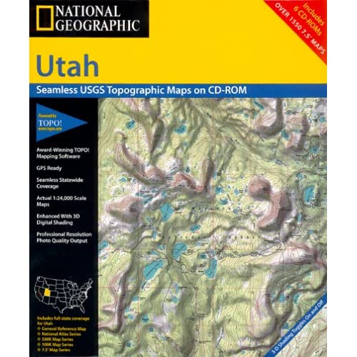 &^ National Geographic TOPO! Utah Map CD-ROM (Windows ...
