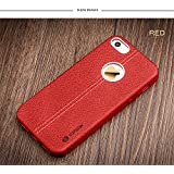 SGC ® Vorson LEXZA Series Double Stitch Leather Shell Back Cover Case For Apple IPhone 5/5S/SE - Red