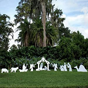 Teak Isle Christmas Outdoor Complete Nativity Scene, Standard