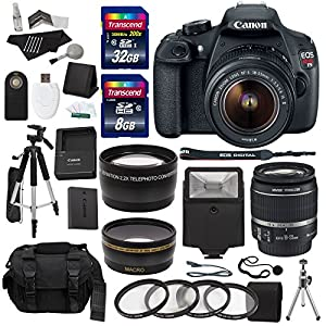 Canon EOS Rebel T5 Digital SLR Camera Body with EF-S 18-55mm IS II f/3.5-5.6 Lens + Studio Series .43x High Definition Wide Angle Lens With Macro Attachment + Studio Series 2.2X High Definition Telephoto Lens Travel Kit + 40 GB Storage + Deluxe 57-Inch Photo/Video Tripod with Tripod Carrying Case + Deluxe Accessory Kit