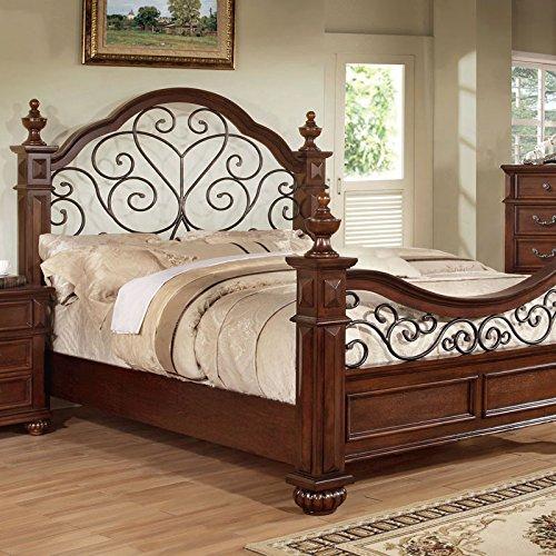 Landaluce Transitional Style Antique Dark Oak Finish Queen Size Bed Frame Set