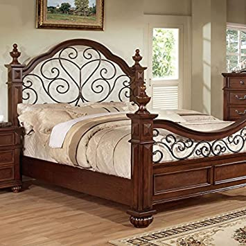 Landaluce Transitional Style Antique Dark Oak Finish Queen Size Bed Frame Set