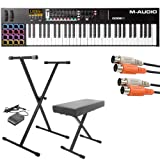 M-Audio Code 61 Black   61-Key USB MIDI Keyboard Controller with X/Y Touch Pad (16 Drum Pads / 9 Faders / 8 Encoders) + Keyboard Stand/Bench Pak with Sustain Pedal + Dual MIDI Cable - Top Value Kit!!