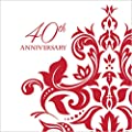 Creative Converting 36 Count 3 Ply 40th Anniversary Beverage Napkins, Ruby