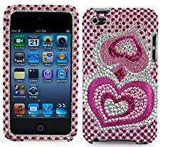 SumacLife Thin Diamond Rhinestone Protective Case for New Ipod Touch 4th Generation with Camera Suitable for 8G 32G 64G, Pink Heart