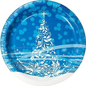"Holiday Glimmer Design Disposable 10.25"" Diameter Plates, 80ct., Blue"