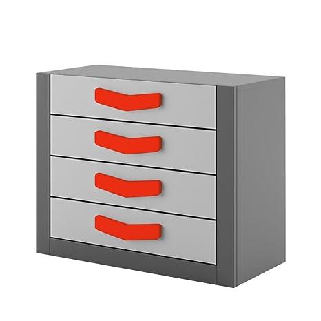 Kommode Boomerang mit 4 Schubladen Anthrazit/ Grau/Rot sideboard highboard kommode gunstig schlafzimmer kommode
